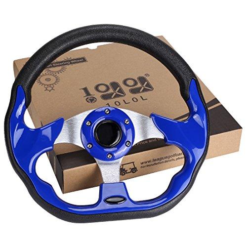 10L0L Golf Cart Steering Wheel, Generic of Most Golf cart EZGO Club Car Yamaha (style2 Blue)