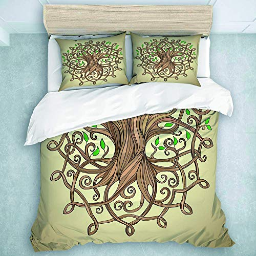 Jojun Duvet Cover Set,Knot Amazing Tree of Life in The Celtic Pattern Leaves Roots Culture,Luxury Ultra Soft Bed Set 3 Pieces