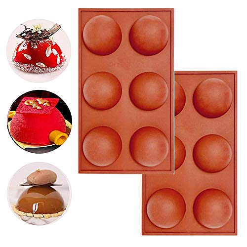 6 Holes Half Round Shape Silicone Mold, For Chocolate, Cake, Jelly, Pudding, Handmade Soap,Half Ball Sphere Silicone Cake Mold (2pcs)
