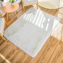 GaoTuo Alfombras Suaves de Terciopelo, alfombras Modernas y esponjosas, Lindas alfombras de Dormitorio peludas, adecuadas para su Uso como alfombras de Dormitorio(Blanco,80x120cm)