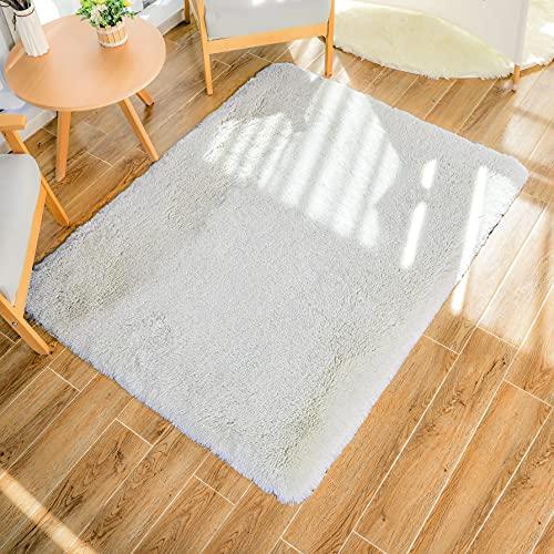 HEXIN Alfombra Blanca, Alfombra de Terciopelo,Alfombra de área Peluda Suave Alfombras mullidas de Interior Modernas, cómodas alfombras de Sala de Estar, Alfombra de Dormitorio (Blanco, 80x160cm)