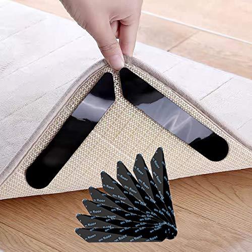 Antirutschmatte für Teppich, 8 Stück, [ Kein Rückstand & Wiederverwendbar ], Teppich Antirutschunterlage, Teppich Rutsch Stop, Anti Rutsch Teppichunterlage, Starke Viskosität & Waschbar (8 Stück)