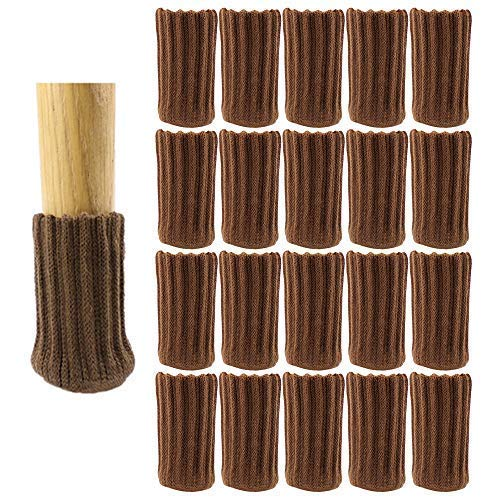 Chair Leg Socks Furniture Socks High Elastic Floor Protectors Non Slip Chair Leg Feet Socks Covers Furniture Caps Set Fit Diameter from 1 Inch to 2 Inch Knitted Furniture Pads (20,Brown)