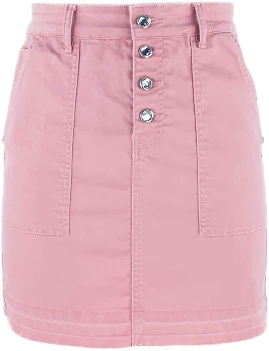S-JACOL Women's Woven Special Washed Raw Hem Pink Short Skirt