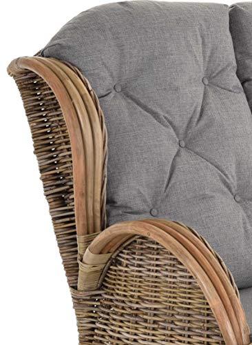 korb.outlet Rattan-Sofa 2-Sitzer Korbsofa Sofa wie Ohrensessel Hochlehn-Sofa Wintergarten Couch Rattanmöbel Grau Natur - 6