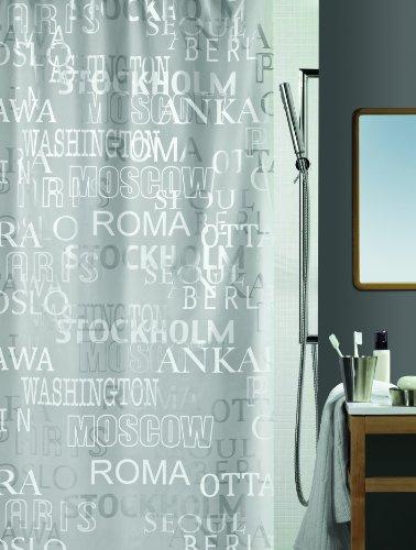 """Spirella Anti-Schimmel Duschvorhang - Anti-Bakteriell, waschbar, wasserdicht - Peva, """"Cities"""" 180x200cm Grau"""
