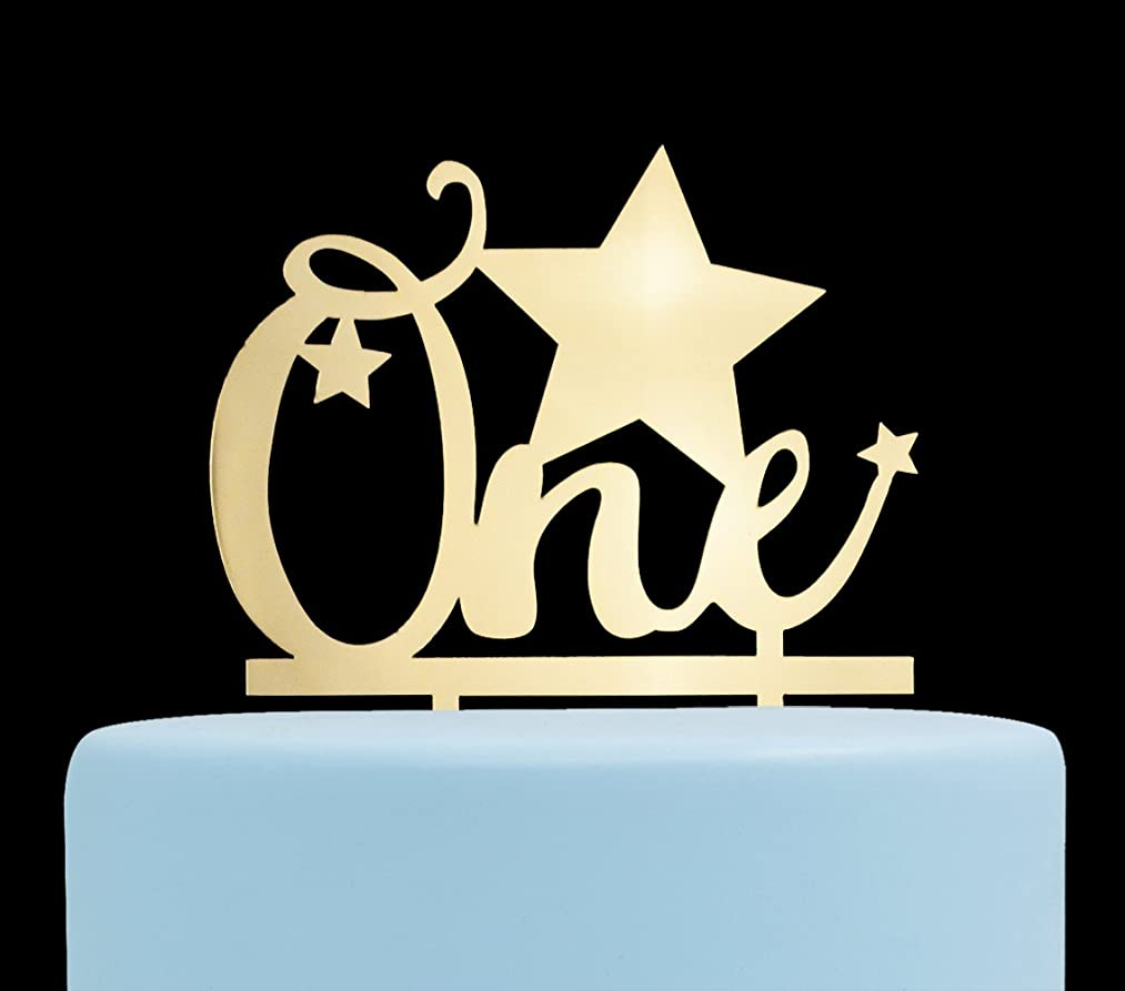 One with Stars Cake Topper, 1st Birthday Cake Topper, First Birthday Party Decorations (Gold)