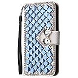 HongHushop 3D Bling Strass Glitter PU Leder Handyhülle für Wiko Harry 2 / Tommy 3 Plus Spiegel Diamant Schnalle Hülle [Kartenslots] [Magnetverschluss] Schutzhülle - Navy blau