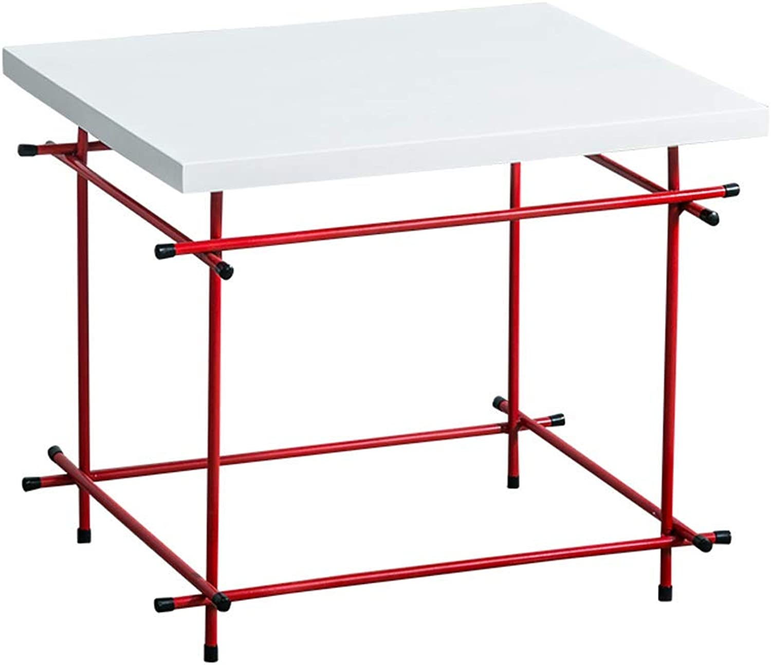 Tea table Iron tea table Nordic Solid Wood Simple and Modern Living Room Coffee Table Metal Sofa American Small Square Table (color   RED)