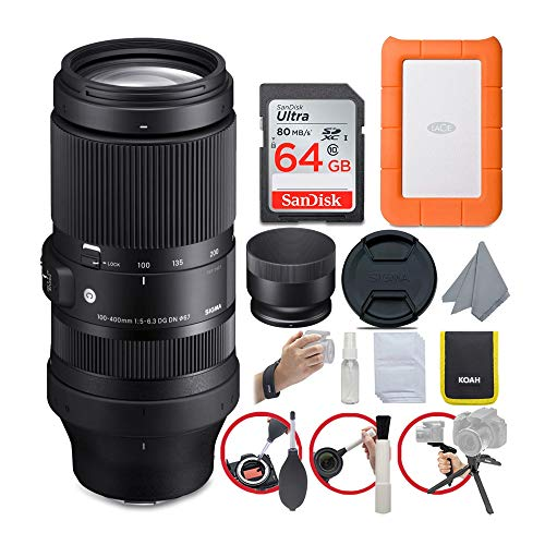 Sigma 100-400mm f/5-6.3 DG DN OS Contemporary Lens for Sony E-Mount Bundle with LaCie Rugged Mini 1TB Hard Drive and 64GB SD Card (4 Items)