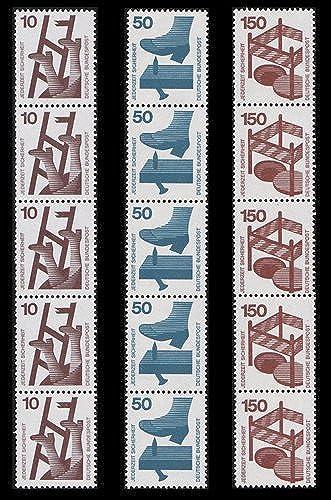 Goldhahn BRD Unfallverhütung 5er- Rollenstreifen Nr. 695,700+703 postfrisch  mit Blauer Nr. Briefmarken für Sammler