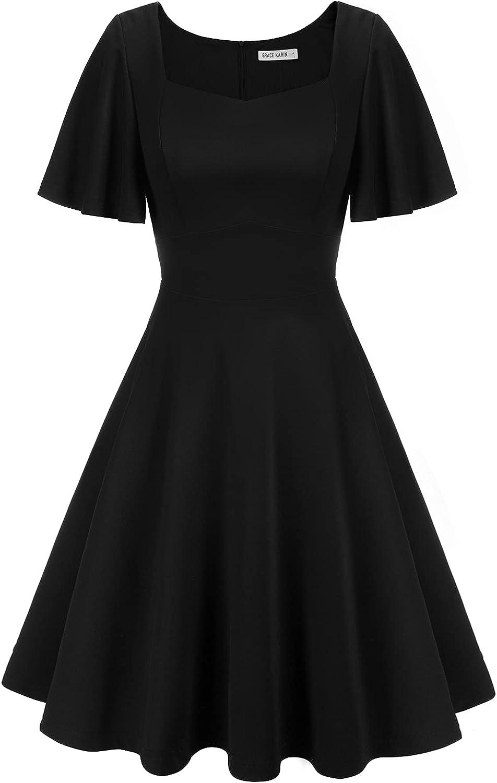 GRACE KARIN Short Ruffle Sleeve Flared A-line Wrap Cocktail Dress