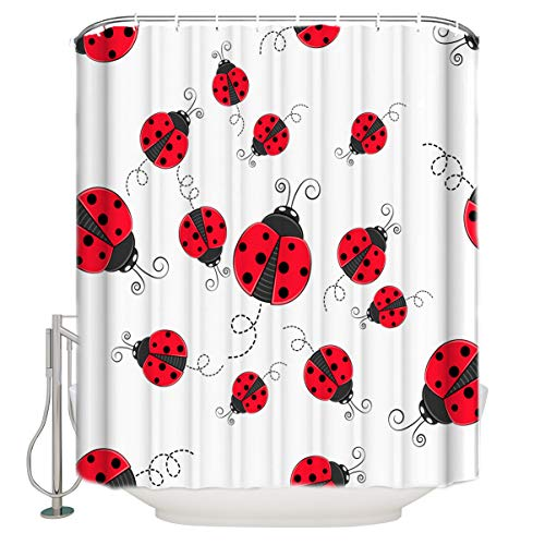 Xspring Shower Curtain White Background Red Ladybug Decorative Waterproof Machine Washable Bathroom Curtains, Hooks Included 66x72inch