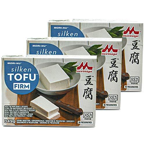 Mori-No - 3er Pack Silken Tofu Firm in 349 g Packung - Seidentofu hergestellt aus ausgesuchten Sojabohnen