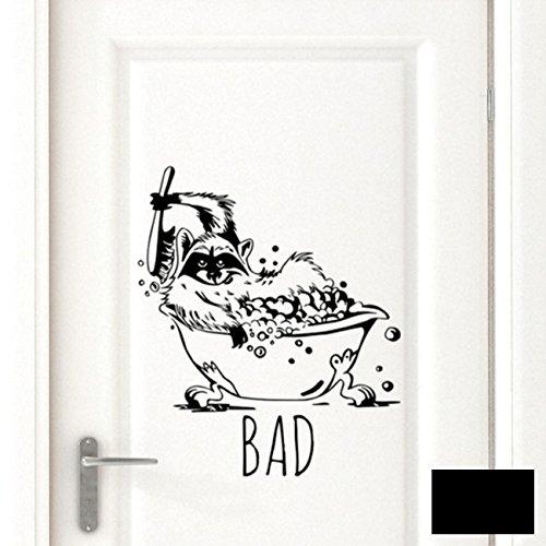 Wandtattoo Badaufkleber Türschild Waschbär mit Schriftzug Bad M1783 ausgewählte Farbe: *schwarz* ausgewählte Größe: *S*