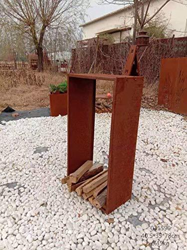 Zen Man Kaminholzregal Garten Rost Kaminholzunterstand Rost holzregal Kaminholz Rost Metall 031590 B35*L40*H78cm
