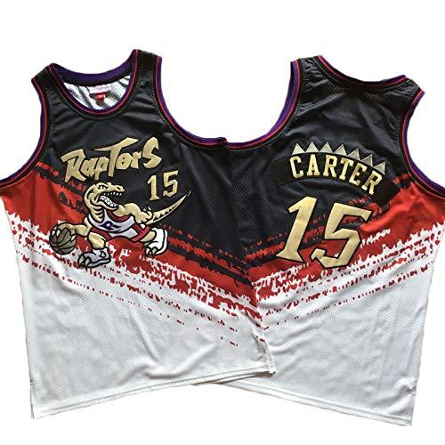 LITBIT Baloncesto para Hombre NBA Jersey Vintage Raptors 15# Carter Bordery Transpirable Quick Secking Sin Mangas Vestima Top para Deportes,XXL