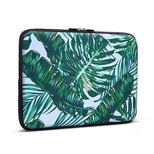 15-15.6 inch Laptop Sleeve Palm Leaf, iCasso Water Resistant & Shock Resistant Super Protection Laptop Bag for Macbook Pro15 /New Pro 15/Notebook/Chromebook/Ultrabook PC