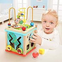 TOP BRIGHT Cubo Multiattività Legno 5 in 1 – Cubo Interattivo - Giochi Bambini 1 Anno, 2 Anni – Gioco Incastri con Forme Legno per Lo Sviluppo Cognitivo #1