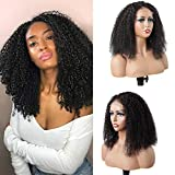 Afro Curly 4x4 Lace Closure Wigs Human Hair Pre Plucked Brazilian Lace Front Wigs Human Hair with Baby Hair Afro Kinky Curly Lace Wigs for Black Women 18 Inch Natural Color