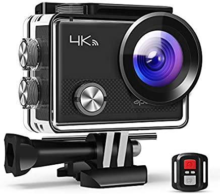 【Upgraded】 APEMAN Action Camera 4K WiFi 16MP Waterproof Underwater Diving Camera UHD Sport Cam, 2.4G Remote Control, 2 Rechargeable Batteries, 20 Accessories Kits