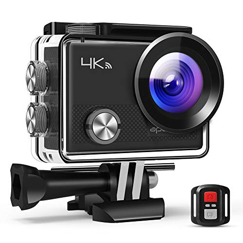 APEMAN 4K Action Cam Wi-Fi 20MP Ultra FHD Impermeabile 30M Immersione Sott'acqua Camera con Schermo 2 Pollici 170 Gradi Ampia Vista Grandangolare/ Telecomando 2.4G/ 20 Accessori all'Interno
