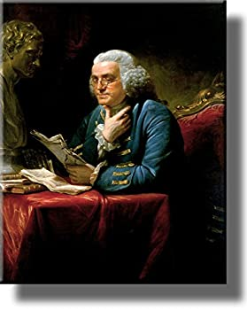 ArtWorks Decor Benjamin Franklin Portrait on Stretched Canvas Wall Picture Ready to Hang!
