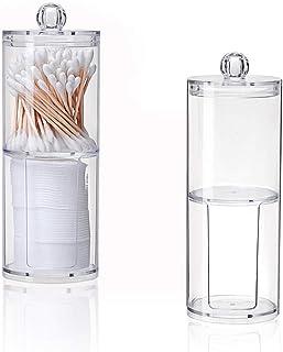 Lot de 2 boîtes de rangement en acrylique transparent pour cotons-tiges de maquillage, boîte de rangement avec couvercle p...