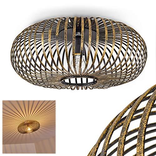 Lámpara de techo Oravi, redonda de metal en negro/oro, 1x E27 máx. 60 vatios, retro con efecto luminoso mediante óptica de rejilla, adecuada para bombillas LED, ideal para salón