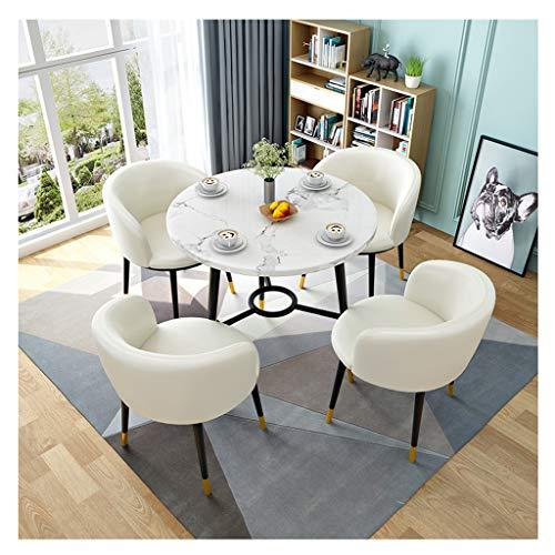 ZCXBHD Runder Esstisch und Lederstühle, Holz zum Büro Lounge Essküche (1x runder Tisch + 4 Stuhl) (Color : White)