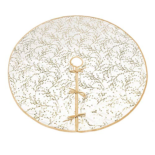 ShiyiUP White Plush Tree Skirt with Gold Tree Print Holiday Party Decoration 48inch