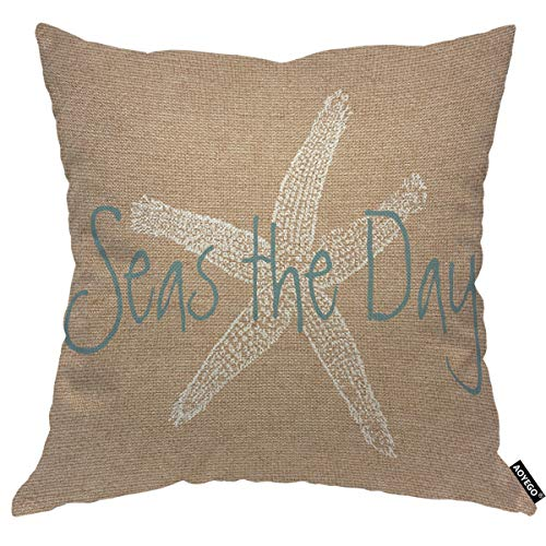 AOYEGO Seas The Day Throw Pillow Cover Starfish On Brown Background Ocean Wildlife Pillow Case 18x18 Inch Decorative Men Women Boy Girl Room Cushion Cover for Home Couch Bed