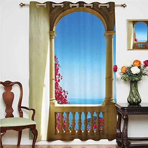 Cortina opaca con vistas al mar Mediterráneo, buganvillea, Mallorca, parte trasera térmica, cortina de cristal deslizante, panel individual, 160 x 160 cm, para oficina, color marrón, rosa y azul