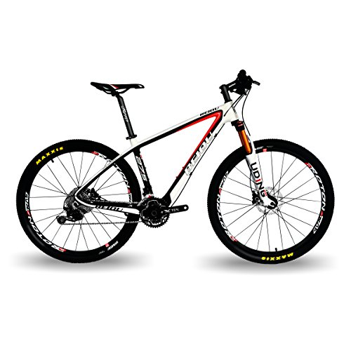 BEIOU Carbon Fiber 650B Mountain Bike 27.5-Inch 10.7kg T800 Ultralight Frame 30 Speed Shimano M6000 DEORE MTB Matte 3K CB20 (White&Red, 19-Inch)