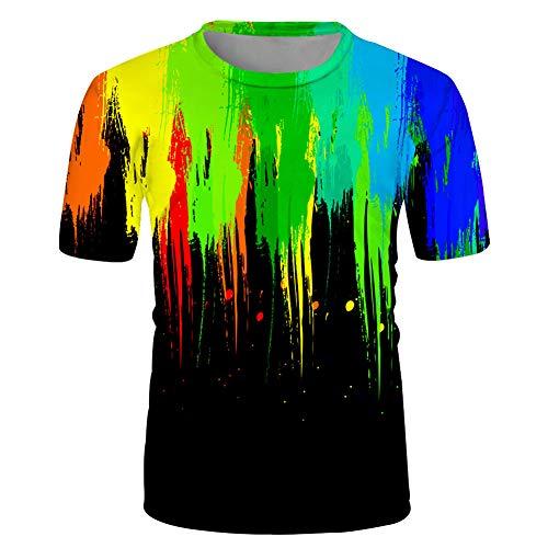 Maglietta Stampa Digitale 3D Vernice T-Shirt Manica Corta da Uomo Casual Hip-Hop Moda Girocollo Estiva Top T-Shirt Manica Corta Street