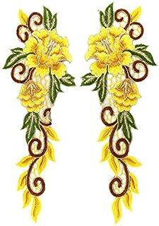 N\A 1pair Fleurs colorées Applique Dentelle Bricolage Robe de mariée Coiffe Vêtements for Enfants Danse Performance Access...