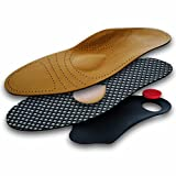 Lenzen Premium Leather Shoe Insole with Orthotic Footbed I Insoles with Arch Support and Heel Cushion for Men and Women (US W12/M9/EU 42)