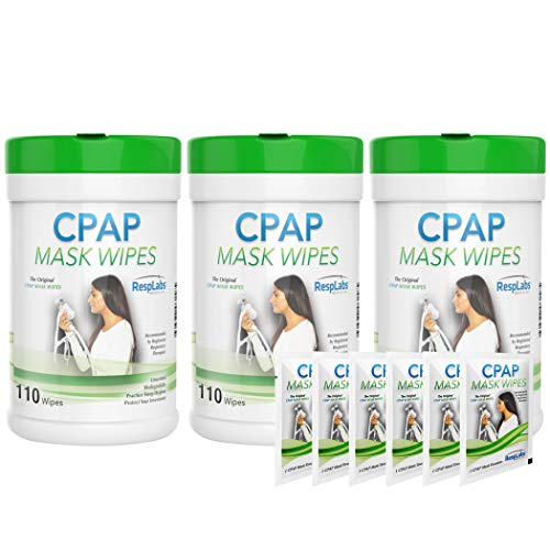 RespLabs CPAP Mask Wipes - 110 Pack + 2 Travel Wipes (3 Bottles)
