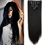 26' Extension a Clip 8 Bandes - Extensions Cheveux Clips Lisse - Clip in Hair Extensions - 66cm(26 pouces) - Noir Naturel