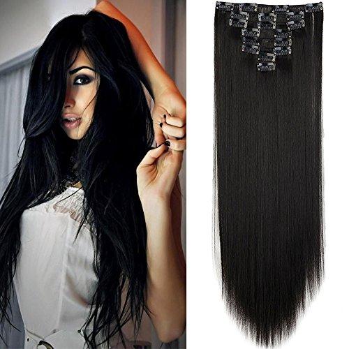 Elailite Hair Extension Capelli Clip Effetto Naturale 8 Fasce Full Head Capelli Lunghi Lisci 59cm, Nero Naturale