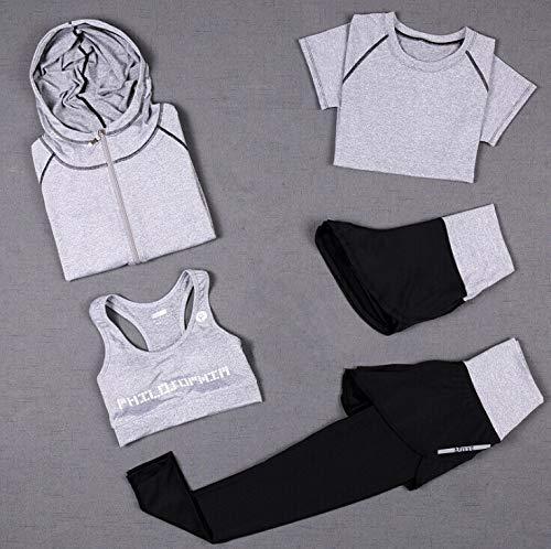 Nologo LUCHAO Pantalones de cintura alta+abrigo con capucha+camiseta+sujetador+pantalones cortos para mujer yoga 5 piezas conjunto de correr al aire libre secado rápido ropa de gimnasio deportes 3XL, 3, Small
