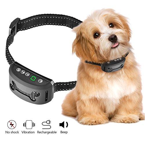 Collar Antiladridos para Perros -OMorc, Collar Adiestramiento Sin Descarga Eléctrica Collar Automático utiliza Sonidos y Vibraciones Audibles, Seguro, Inteligente, Impermeable, 7 Niveles Sensibilidad