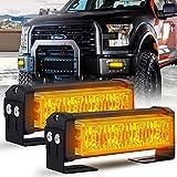 Calevin LED lumière stroboscopique 18 modèles de clignotant Barre de feux de détresse pour avertisseur de danger de police d'urgence pour véhicules de construction, Ambre
