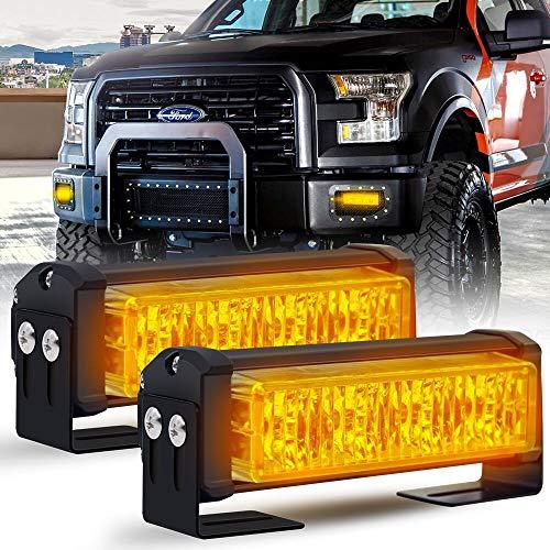 """Calevin 4.8"""" 4LED Flash Luz estroboscópica 18 Patrones intermitentes 20W Emergencia Policía Advertencia de peligro Baliza Barra de luces para vehículos de construcción de seguridad - Ámbar, 2 piezas"""