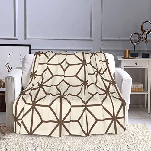 KCOUU Manta de forro polar de 50 × 60 pulgadas, color marrón y beige, acogedora manta decorativa para sofá, cama, sofá, viajes, hogar, oficina, uso en todas las estaciones