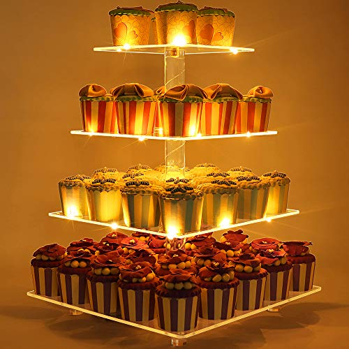 GetWant Cupcake Stand Square Food Grade - 4 Tier Acrylic Cupcake Display Stand Tower Holder with LED String Lights - Dessert Tree Pastry Tower for Wedding Birthday Parties