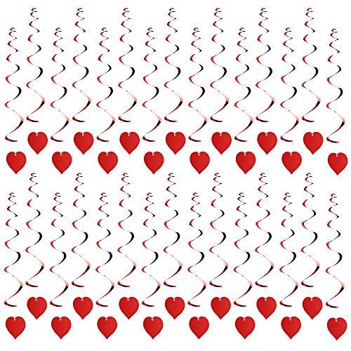 Dadabig 30 PCS Valentine's Day Red Heart Spiral Hanging Decorations, Spiral Garland Banner Valentines Day Decorations for Xmas, Wedding, Birthday, Party Supplies
