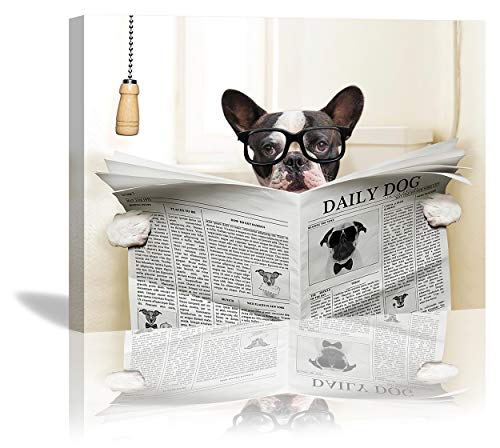 French Bulldog Sitting On Toilet Reading Newspaper Canvas Wall Art Framed Picture For Living Room Bathroom Poster Cute Dog Painting Home Decorations 12x16 Inch