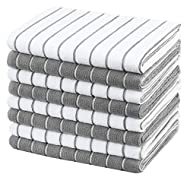 Gryeer Microfibre Tea Towels - Pack of 8 (Stripe Designed Grey and White Colours) - Soft, Super Abso...