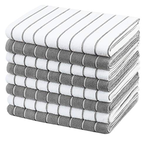 Gryeer Microfiber Kitchen Towels, Stripe Designed, Soft and Super Absorbent Dish Towels, Pack of 8, 18 x 26 Inch, Gray and White